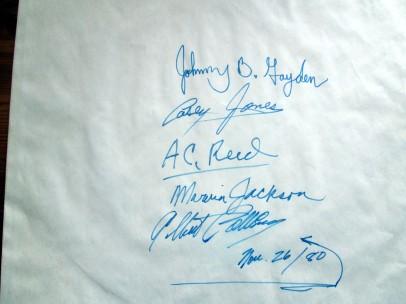 Albert Collins Autogrammliste